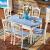 瀾煕世家家具地中海伸縮純木円形テーブルセット多機能藍白ストレッチテーブルテーブルテーブル六椅子