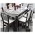 鼎のテーブルのような純粋な木の大理石の鋼製ガラステーブルのセット家具レストランのテーブル1.35メートルの黒い胡桃の大理石の面のテーブル