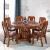 白檀家匠の純木円卓円形テーブル中華古彫刻ベルト回転台大円卓回転物テーブルテーブルホテルのテーブルとテーブルのセット1.4メートルの竜骨台脚(備考の色、デフォルトの胡桃色)シングルテーブル+6本の招財入り椅子(回転盤と鉄骨ガラス送り)