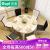 古宜(Gui)古宜大理石純木テーブルモダンプレス可伸縮折られたテーブルとテーブルの組み合わせ6人テーブルテーブル大理石テーブル【テーブル3黒椅子3白椅子】