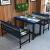 四角達のテーブルと椅子の組み合わせ軽食レストランのテーブルとテーブル、レストランのテーブル、二つのベンチの組み合わせコーヒーショップの個性的なテーマテーブルをカスタマイズします。