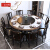 ラッキー熊新中国式岩板テーブルセットモダシンプレル円形回転テーブルレストラン円卓家庭6人用テーブルシングルテーブル(回転盤付き)1.3メートル