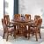 白檀家匠の純木円卓円形テーブル中華古彫刻ベルト回転台大円卓回転物テーブルテーブルホテルのテーブルとテーブルのセットは1.3メートルの竜骨台脚(デフォルトは胡桃色)シングルテーブル+8本の年間魚用椅子(回転盤とガラスを配合)があります。